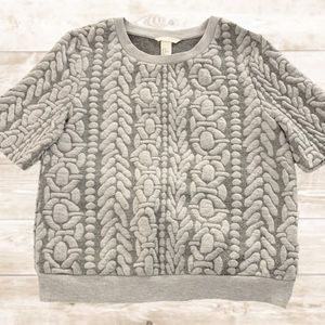 H&M || Gray Textured Short Sleeve Sweater
